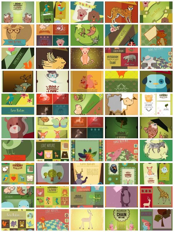 100 тематических материалов природы и животных